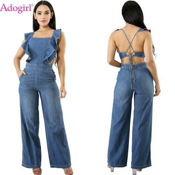 Adogirl Ruffle Lace Up Backless Jeans Jumpsuits Summer Casual Women Loose Rompers Square Collar Wide Leg Pants Ladies Overalls