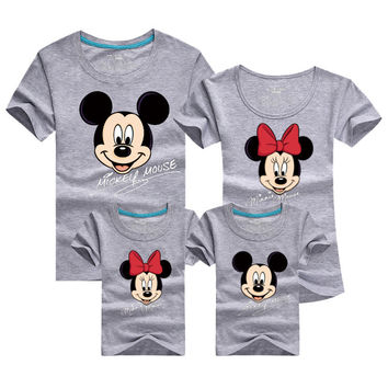 Mickey Cartoon Family Matching T Shirt Female Male Shirt Short Sleeve Matching Clothes Cotton Family Outfits Set Tees Top DC53