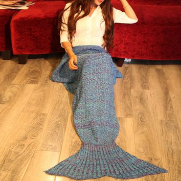 Knitting Braided Decor Mermaid Tail Style Soft Blanket