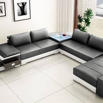 Limo Large Modern Leather Sectional by Scene Furniture | Opulentitems.com - Opulentitems.com