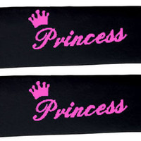 2 PRETTY SEAT BELT STRAPS IN BLACK W/PINK PRINCESS CUTE