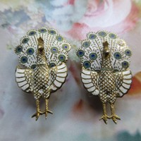 Vintage Sterling Siam Enameled Peacock Clip On Earrings