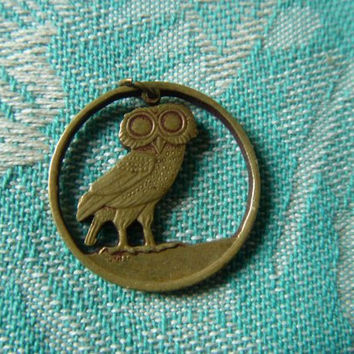 Athena's Owl--Great Brass Pendant or Charm Made From 1973 Greek Dracma