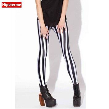 CREYCI7 Hipsterme Drop ship S-4XL Women Black and white stripes Leggings MIlk Leggings Galaxy leggings Plus Size girl Leggings