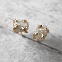 Rough white / silver conflict-free raw diamond stud earrings in your metal