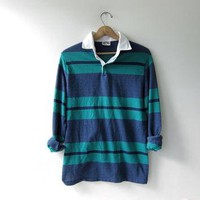 vintage 90s striped henley shirt. collared shirt. long sleeve Polo shirt.