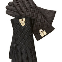 MICHAEL Michael Kors Gloves, Quilted Leather Hamilton Lock