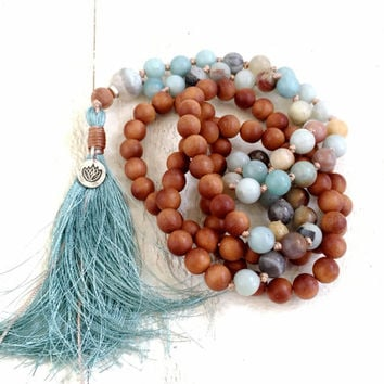 Bohohemian Mala Beads, Lotus Mala Necklace, Sandalwood and Amazonite Mala, Handmade Mala Beads, Tassel Necklace, Bohemian Necklace