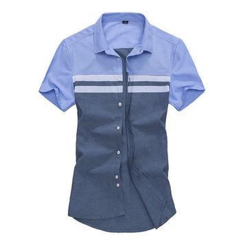 Mens Contrast Color All Match Slim Fit Turndown Collar Short sleeved Business Casual Shirts