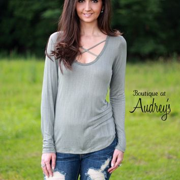 BLACK FRIDAY SPECIAL Olive Green Washed Look Top with Criss Cross Detail