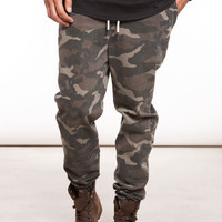 Stone Washed Camo Stretch Twill Jogger Pant