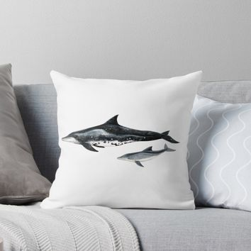 'Rough toothed dolphin' Throw Pillow by Chloé Yzoard