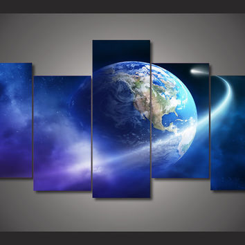 Earth Space Trip 5-Piece Wall Art Canvas