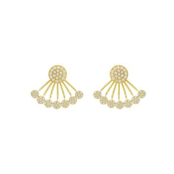 Gold Over Sterling Silver Pave CZ Disc Ear Jackets