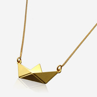 Short Paper Boat Necklace