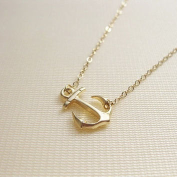 Sideways anchor 14K gold filled necklace, must have item :)