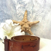 Vintage Tan Leather Belt,Wide Western Belt Wide Cowboy Belt Boho Hippie