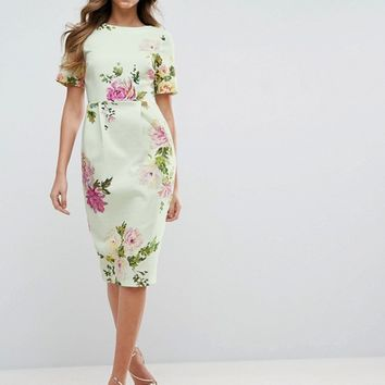 ASOS Wiggle Dress in Floral Print at asos.com