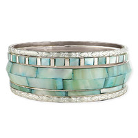 ZAD Light Turquoise & Silvertone Shell Bangle Set | zulily