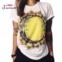 Jahurto Fashion T Shirt Summer Women 2016 Live By The Sun Love By The Moon Print Punk Rock Fashion Graphic Tees Women T-shirts