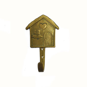 Vintage Brass Hook Brass House Hook House Coat Hook House Towel Hook Brass House Shaped Hook