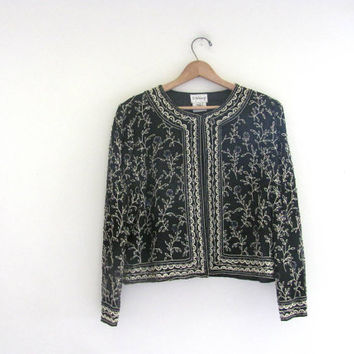 vintage embroidered silk jacket / sequin coat M
