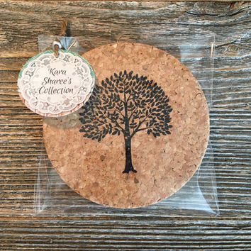 Tree Coasters, Absorbent Cork Coasters, Set of 4 Coasters, Rustic Tree Wedding Favors, Tree Housewarming Gift, Natural Coasters - Item# 012