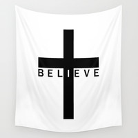 Believe Cross Wall Tapestry by CreativeAngel