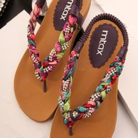 Colorful Braided Flat Sandals 060506