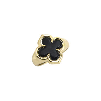 Gold Black Onyx Arpel Clover Ring Ring