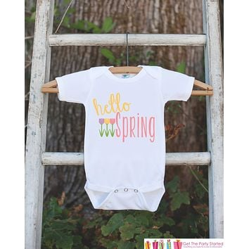 Girls Outfit - Hello Spring Onepiece With Tulip Flowers - Baby's 1st Spring - Newborn Bodysuit - Pastel Spring Infant Baby Girl Outfit