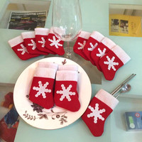 12 Pieces/Set Mini Christmas Stockings Dinnerware Cover Xmas