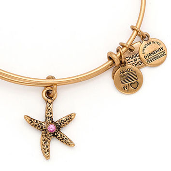 Alex and Ani Breast Cancer Starfish Arms of Strength Expandable Wire Bangle Rafaelian Gold