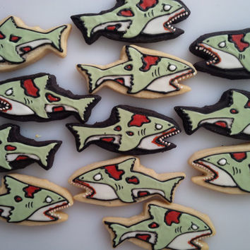 Zombie Shark Cookies - One Dozen Decorated Cookies