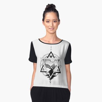 'Saturn's Return in Sacred Geometry' Women's Chiffon Top by grantlacorte