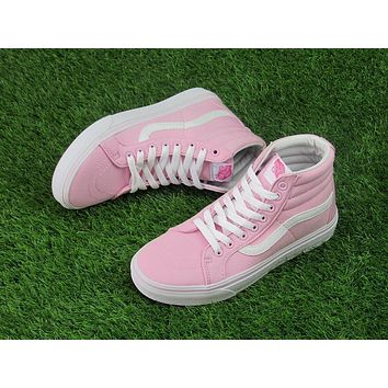 Best Deal Online Vans Sk-Hi Pink White High Top Women Sneaker Flats Shoes Canvas Sport