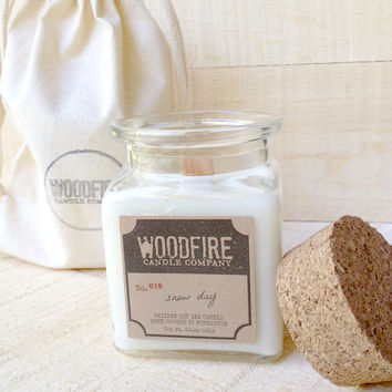 Apothecary Cork Topped Jar Wood Wick Soy Candle - 8.5oz *Perfect Gift