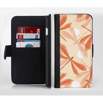 The Coral DragonFly Ink-Fuzed Leather Folding Wallet Credit-Card Case for the Apple iPhone 6/6s, 6/6s Plus, 5/5s and 5c