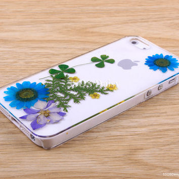 Pressed Flower Daisy iPhone 5 case, iPhone 4 case, iPhone 4s case, iPhone 5s case, iPhone 5c case, Galaxy S4 S5 Note 3 - 01031