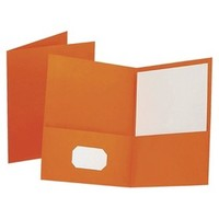 Oxford® Twin Pocket Folder, Embossed Leather Grain Paper - Orange