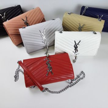 """Yves Saint Laurent YSL"" Women Envelope Bag Simple Fashion V Quilted Metal Chain Single Shoulder Messenger Bag Small Square Bag"