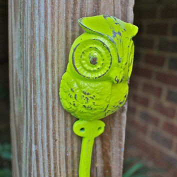 "Whimsical Lime Green ""OWL"" Wall Hook by AquaXpressions"