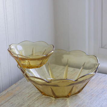 Vintage Chip Dip Bowl, Retro Anchor Hocking Glass, Honey 3 Piece Set  Original Box, Holiday Entertaining