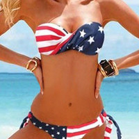 New American Flag Stars and Stripes Bikini bandeau swimsuit swim USA shipper 1