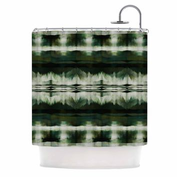 """Ebi Emporium """"NATIVE SONG, EVERGREEN"""" Green Olive Tribal Abstract Mixed Media Watercolor Shower Curtain"""