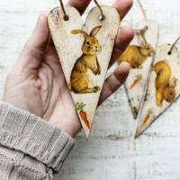 Easter bunny hearts wooden ornaments shabby chic rabbit carrot off white brown mustard