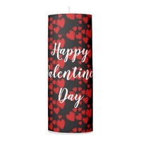 Red Hearts on Black Happy Valentine's Day Candle