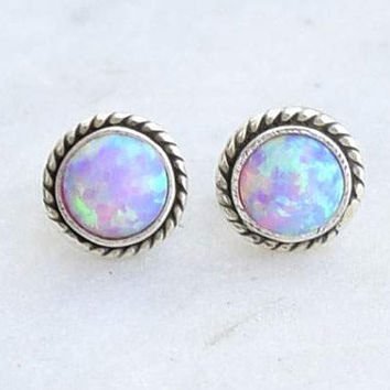 Opal stud earrings ,Opal post earrings silver sterling, Pink opal earrings ,Studs, Opal Studs, 6mm