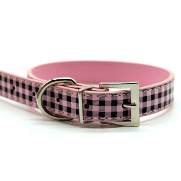 Chelsea Gingham Leather Dog Collar (Pink)