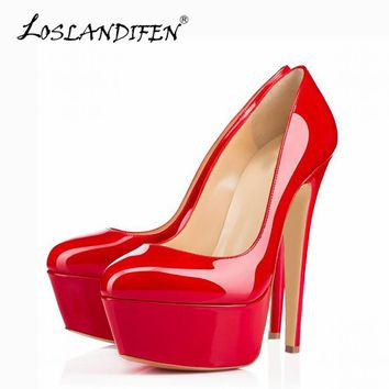 LOSLANDIFEN Platform Women Pumps Extremely High Heels Shoes Sexy Patent Leather Woman Wedding Party Shoes Stiletto Red Pumps